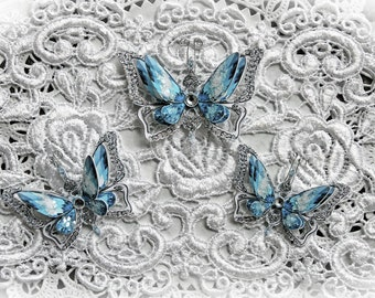 Reneabouquets Butterfly Set - Ice Princess Anna Double Layered Butterflies, Scrapbook Embellishment,  Wedding, Party Decoration
