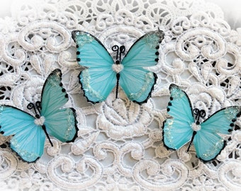 Reneabouquets Butterfly Set Sweetheart Teal Glitter Glass Butterflies, Scrapbook Embellishment Tag, Card, Mini Album, Wedding