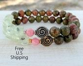 Prehnite, Unakite, Rhodochrosite, Spiral bracelet, Meditation, wrist mala, yoga bracelet, Healing bracelet, quartz mala, gemstone bracelet