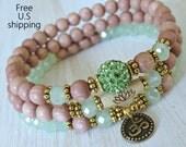 Set of 3 Yoga bracelets, Choose word, Om, Pave bead, Genuine Rosewood beads, Namaste bracelet, Meditation, Reiki Charged, Lotus mala