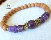 Aromatic Sandalwood, Amethyst, Yoga Bracelet, Meditation bracelet, Reiki Charged, wrist mala, sandalwood bracelet, mala, amethyst bracelet