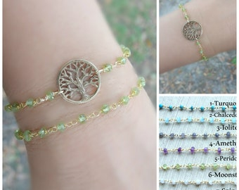 Tree of life, Gemstone Bracelet, Tree bracelet. Rosary bracelet, gold bracelet, Yoga bracelet, Tree of life bracelet, Reiki bracelet, tree