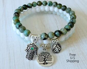 Yoga set of 3, Turquoise, Yoga set, mala bracelets, mala set, Hamsa bracelet, om bracelet, Yoga bracelets, Jasper set, stackable bracelet