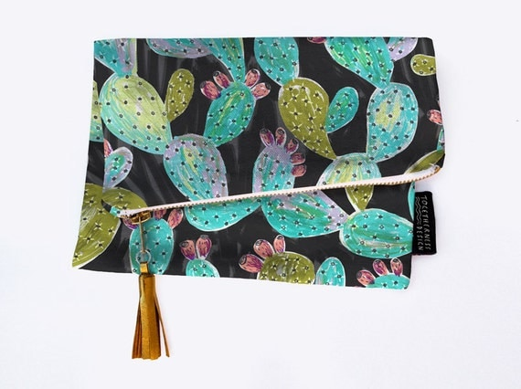 SALE 30% OFF // Handy Foldover Canvas Clutch or Pouch with