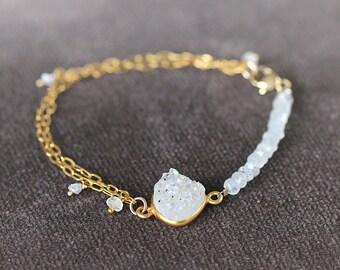 Druzy, Diamond and Moonstone Bracelet - April Birthstone Bracelet - Wedding Bride Bracelet