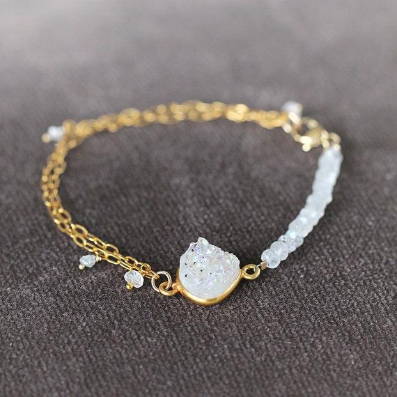 Moonstone Bracelet with Druzy & Diamonds
