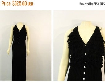CLOTHING SALE Vintage Dress 60s Mad Men Timeless Fringed Black Maxi Dress Knit Loop Fringe Bodice Amazing Condition Modern S M L Rare