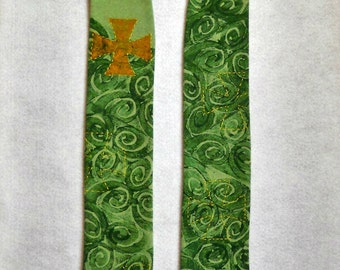 Green Visitation Clerical Stole, Hand Dyed Cotton
