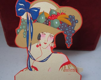 Gorgeous unused die cut hand colored 1920's french pochoir place card deco lady wearing a fruit basket hat cherry earrings,Edward Halouze