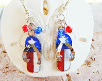 Freedom Flip Flop Earrings with Red and Blue Crystals #patriotic #redearrings #blueearrings #whiteearrings #redwhiteblue #4thofJuly #etsy