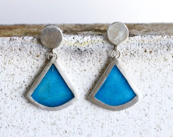 Enamel turquoise earrings - Enamel blue earrings - Enamel silver earrings - Dangle enamel earrings