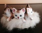 Three Kittens in Basket Figurine with Fur