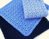 Crochet Dish Cloth Wash Cloth Cotton Washcloth Dishcloth Bathroom Spa Cloth Kitchen Dish Rag Blues Set of 3 d
