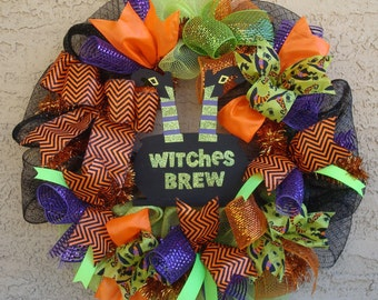 Halloween Wreath - Halloween Deco Mesh Wreath - HOLIDAY SEASONAL - Halloween Door Wreath - Witches Brew Halloween Sign