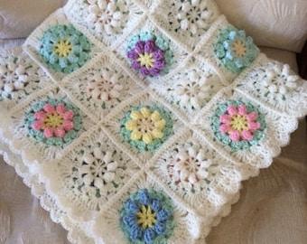 Hand Crochet Spring Flowers Baby Afghan