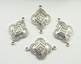 Antiqued Silver Art Deco Connector, Brass Connector, Art Deco Link, Brass Stamping 15mm x 23mm - 4 pcs. (sl199)