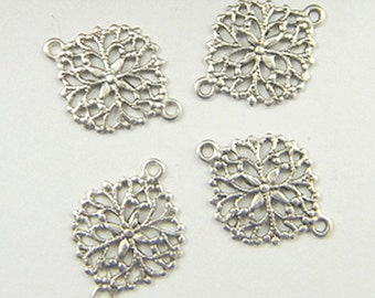 Antiqued Brass Filigree Connector, Floral Brass Connector, Filigree Setting 13mm x 17mm - 4 pcs. (sl179)