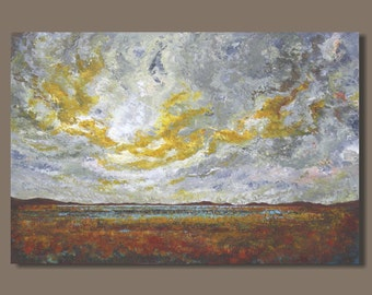 marsh painting, stormy weather marsh, abstract painting, prairie field, abstract landscape, 24x36, rust and gold, yellow and gray, modern