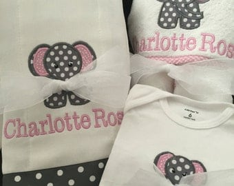 Shower or Newborn Gift Set: Personalized Baby Towel, Burp Cloths and Onesie