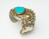 Silver Brass Copper Turquoise Vintage Statement Cuff Bracelet Costume Jewelry