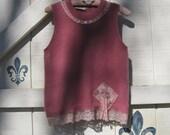 Pink sweater vest, S sweater, wool angora sweater, vest wool angora pink, lace trim sweater S