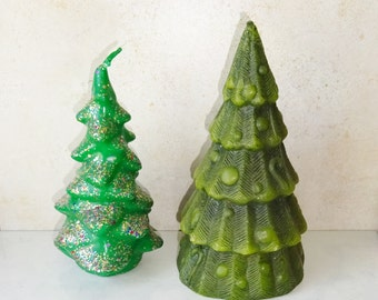 Vintage Christmas Tree Candle 2 Tree Green Candles Christmas Decor Holiday