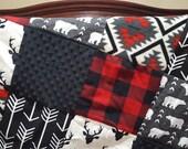 Woodland Patchwork Blanket- Black Buck, Red Buffalo Check, Black Minky, Aztec, Bears, and Black Arrow Patchwork Blanket