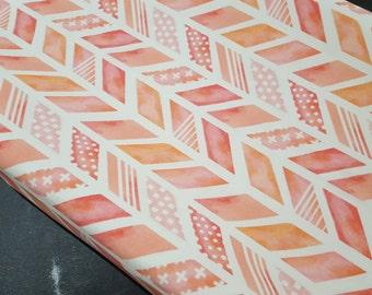 Coral Herringbone Contour Changing Pad Cover