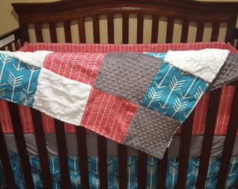 Baby Girl Crib Bedding - Apache Blue Arrows, Pink Herringbone, White, and Gray Crib Bedding Ensemble with Blanket or Patchwork Blanket