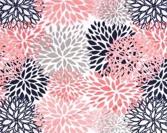Coral Navy Gray Mum Blossom Minky Crib Sheet