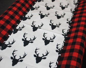 Deluxe Lodge Baby Contour Changing Pad Cover- Red Black Buffalo Check with Black Buck center and Black Arrow Trim