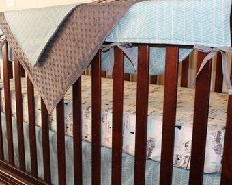 Crib Skirt - Aqua Herringbone