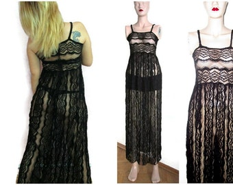 Sheer Lace Bridal Lingerie Nightgown Sleepwear Wedding Nightgown Black lace Nightgown