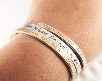 Your choice of metal - Hand stamped cuff bracelet - Sterling silver, gold or rose gold cuff - Quote bracelet - Verse bracelet - Personalized