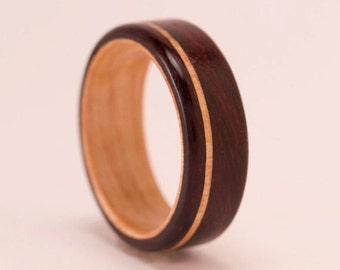 East Indian Rosewood featuring White Ash Liner and Offset Inlay - Bentwood Ring - And We Plant A Tree:)