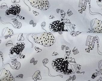 "2280B  - 1 yard Soft Cotton Twill fabric - princess,bag,bow,cat,shoes(black skirt) (135cmx91.44cm,53""x36"")"