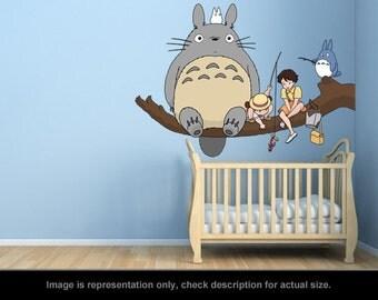 Totoro Inspired - Totoro Fishing Wall Art Applique Sticker