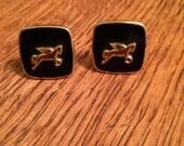 Wonderful Vintage Black & Gold Pegasus Cuff Links
