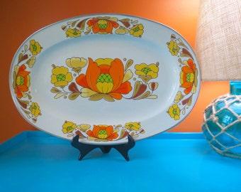 Vintage 1970s Retro Groovy Orange Enamel Sanko Ware Country Flowers Japan Tray Platter