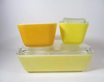 Pyrex Orange Yellow Refrigerator Dishes - Set of 3 Citrus Pyrex Friggies