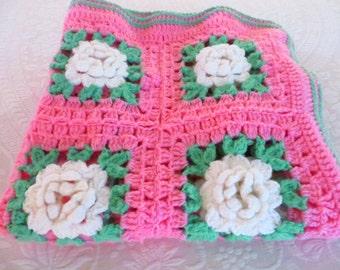 Vintage White Roses Pink Afghan - Handmade Crocheted White Flowers Lap Afghan
