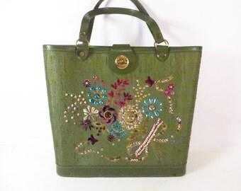 Vintage Beaded Sequined Green Linen Handbag - Enid Collins Copy Green Handbag