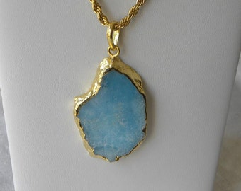 "Blue Agate Necklace Agate Pendant Handmade Pendant Elegant Blue Agate Gemstone Pendant Gold Tone 18"" Chain Take 20% Off Gemstone Jewelry"