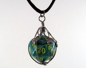 Turquoise Twenty-sided Die Dark Silver Wire Wrapped Pendant on Black Nylon Cord