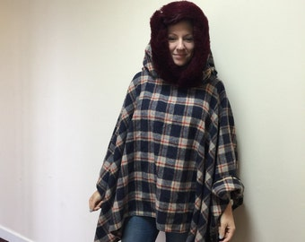 Italian wool poncho ,cloak with fur trim on the hood