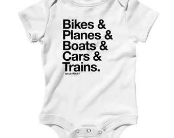 Baby How I Travel Romper - Infant One Piece - NB 6m 12m 18m 24m - Travel Baby, Bikes, Planes, Boats, Cars, Trains, Tourist - 3 Colors
