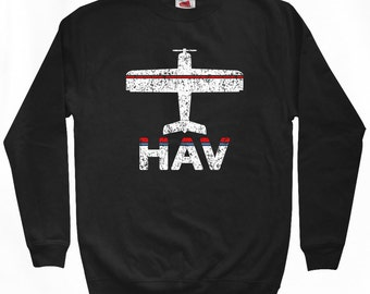 Fly Havana Sweatshirt - HAV Airport - Men S M L XL 2x 3x - Cuba Crewneck - 2 Colors