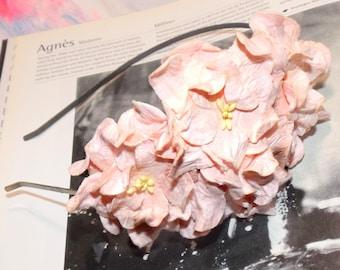 Pale Pink Gardenias Floral Headband Flower Fascinator Vintage Wedding Party Bridal Accessory Bridesmaid statement