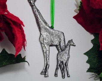 Mother Giraffe and Baby Christmas Ornament Made in USA in Fine Pewter