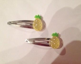 Glitter Pineapple Hair Clips